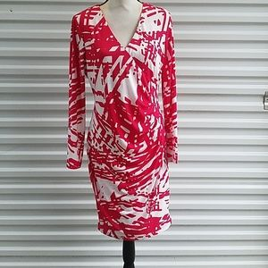 Calvin Klein red and white faux wrap dress